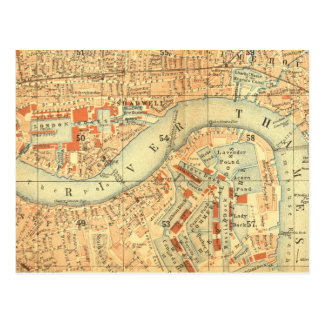 City Slickers - Vintage Map London River Thames Postcard