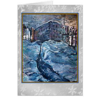 City Snow Storm Art Card