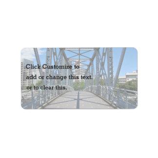 City Themed, A Sturdy, Steel Bridge In Urban Lands Address Label