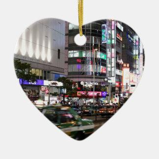 City Tokyo Street View Ceramic Heart Decoration