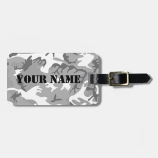 City White Camo Luggage tag w shotgun lettering