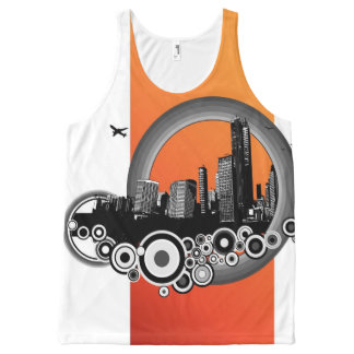 City with orange stripe All-Over print tank top