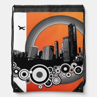 City with orange stripe drawstring bag