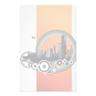 City with orange stripe stationery