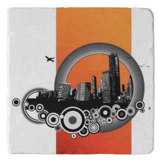 City with orange stripe trivet