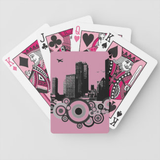 City with stripe bicycle playing cards