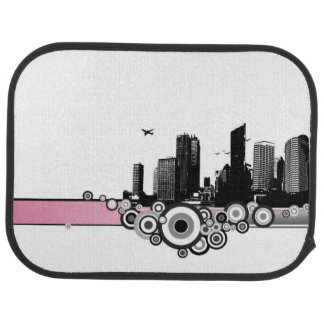 City with stripe car mat