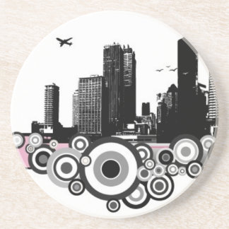 City with stripe drink coasters