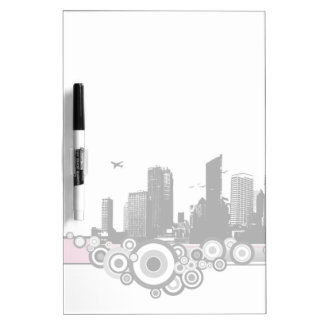 City with stripe dry erase board