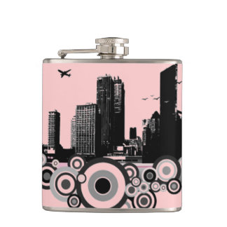 City with stripe hip flask