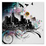 City with Swirls Poster