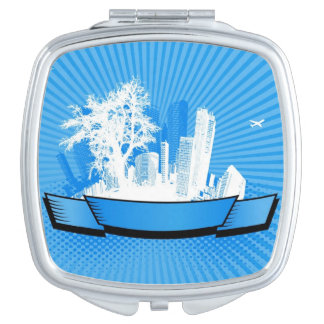 City with tree compact mirror