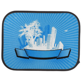 City with tree floor mat