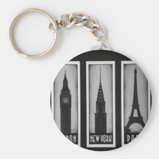 citys of dream: london, Paris and ny Basic Round Button Key Ring