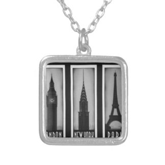 citys of dream: london, Paris and ny Square Pendant Necklace