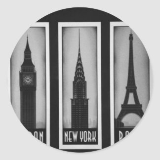 citys of dream: london, paris and ny round sticker