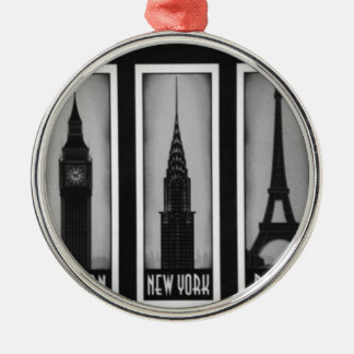 citys of dream: london, Paris and ny Silver-Colored Round Decoration