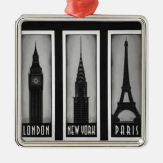 citys of dream: london, Paris and ny Silver-Colored Square Decoration