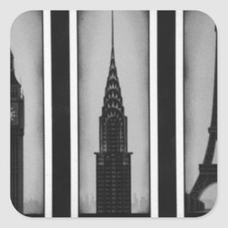 citys of dream: london, Paris and ny Square Sticker