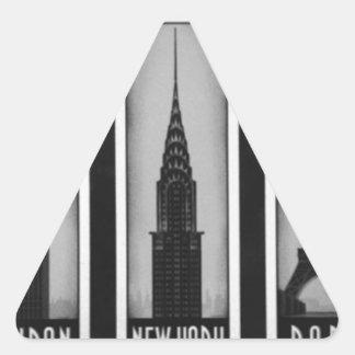 citys of dream: london, Paris and ny Triangle Sticker