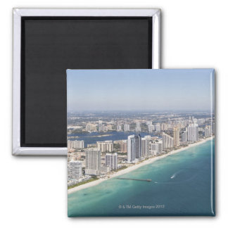 Cityscape as seen from air, Miami, Florida Square Magnet