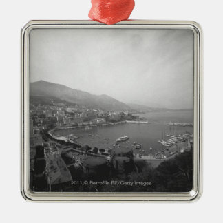 Cityscape at harbour B&W elevated view Silver-Colored Square Decoration