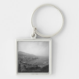 Cityscape at harbour B&W elevated view Silver-Colored Square Key Ring