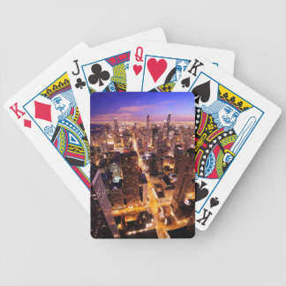 Cityscape at night of Chicago Bicycle Playing Cards