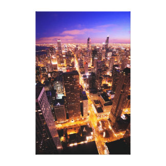 Cityscape at night of Chicago Canvas Print