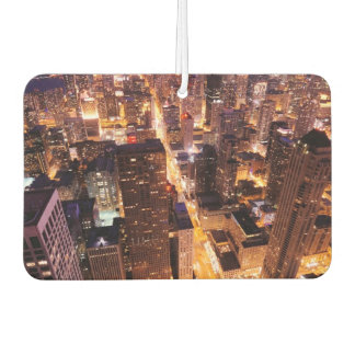Cityscape at night of Chicago Car Air Freshener