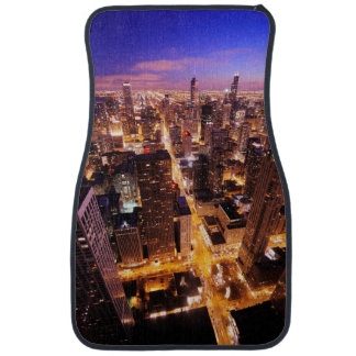Cityscape at night of Chicago Car Mat