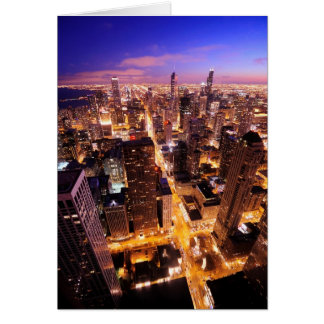 Cityscape at night of Chicago Card