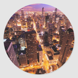 Cityscape at night of Chicago Classic Round Sticker