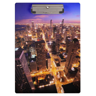 Cityscape at night of Chicago Clipboard
