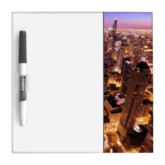 Cityscape at night of Chicago Dry Erase Board