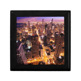Cityscape at night of Chicago Gift Box