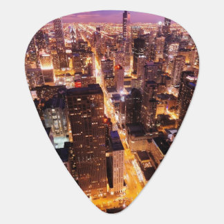 Cityscape at night of Chicago Guitar Pick