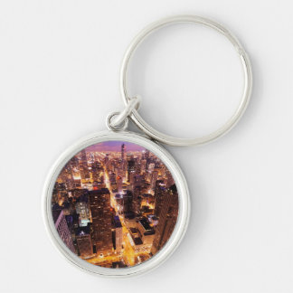 Cityscape at night of Chicago Key Chain