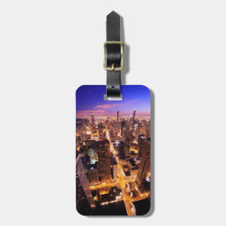 Cityscape at night of Chicago Luggage Tag