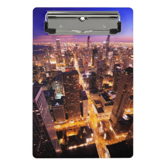 Cityscape at night of Chicago Mini Clipboard