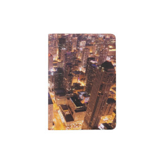 Cityscape at night of Chicago Passport Holder