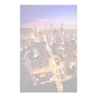 Cityscape at night of Chicago Personalized Stationery