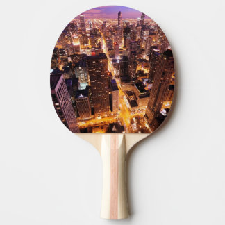 Cityscape at night of Chicago Ping Pong Paddle