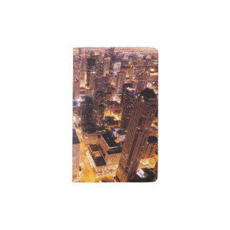 Cityscape at night of Chicago Pocket Moleskine Notebook