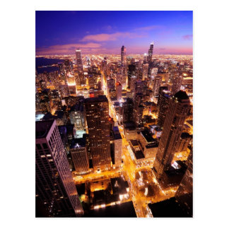 Cityscape at night of Chicago Postcard