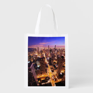 Cityscape at night of Chicago Reusable Grocery Bag