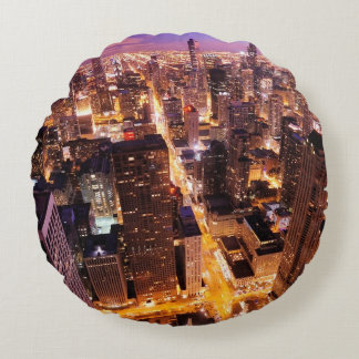 Cityscape at night of Chicago Round Cushion