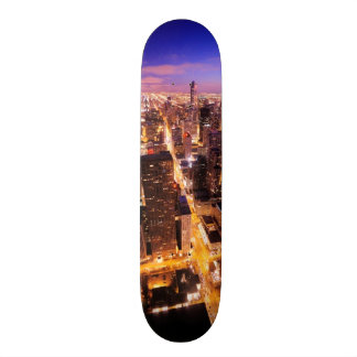 Cityscape at night of Chicago Skateboard