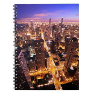 Cityscape at night of Chicago Spiral Notebook