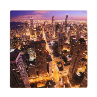 Cityscape at night of Chicago Wood Coaster